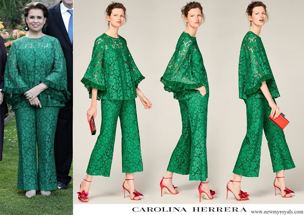 Duchess Maria Teresa wore Carolina Herrera Evase lace top and wide leg lace trousers