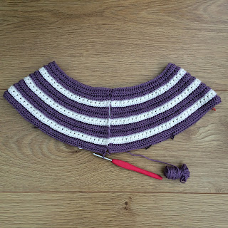 Beginning of a crochet cardigan, starting with the  yoke