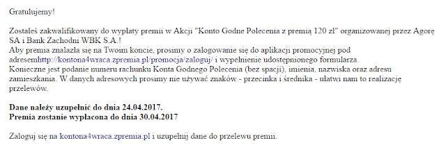 Mail do uczestników promocji Konto Godne Polecenia z premią 120 zł
