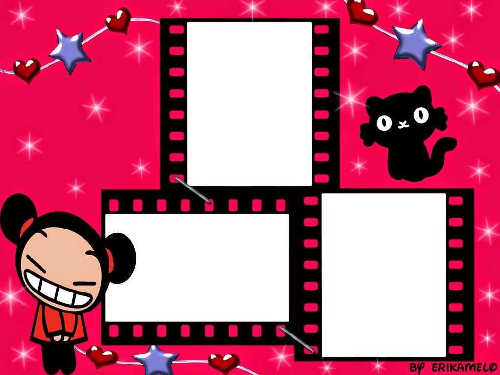 Para hacer invitaciones, tarjetas, marcos de fotos o etiquetas, para imprimir gratis de Cumpleaños de Pucca.