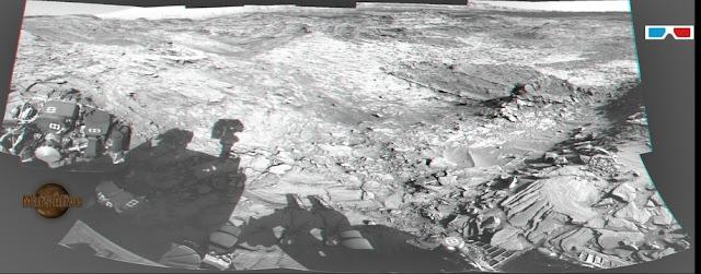 3D- Sol 1151 Curiosity Left Navcam Pahrump Hills