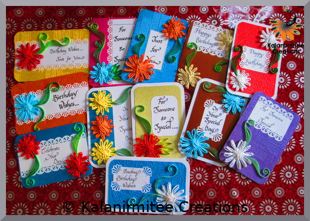 kalanirmitee: paper quilling-quilling - quilling ideas- quilling projects- quilled flowers- quilled cards- birthday cards