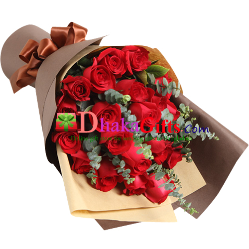 24 Red Roses in beautiful Bouquet