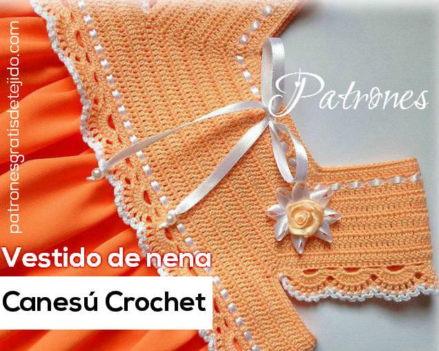 Canesu tejido al crochet para vestido de niña