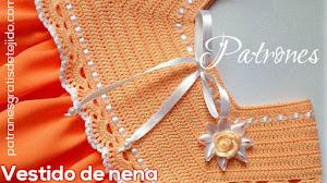 Vestido para Niña con Canesú tejido al Crochet / Moldes y paso a paso