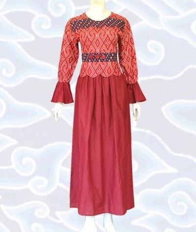 model gamis batik kombinasi polos
