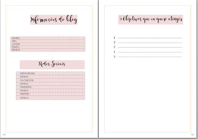Blog planner gratuito para download