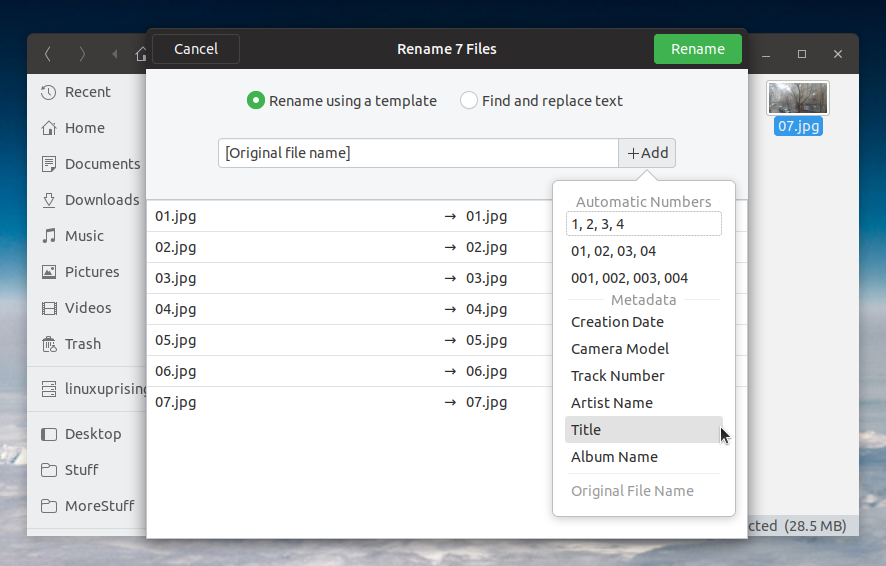 How To Enable Metadata-Based Batch Rename In GNOME Files