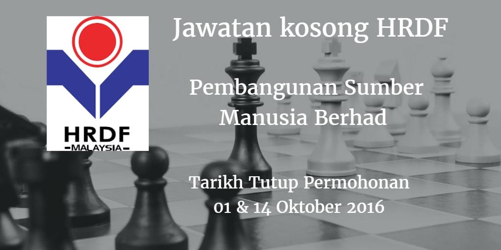 Jawatan Kosong HRDF 01 & 14 oktober 2016