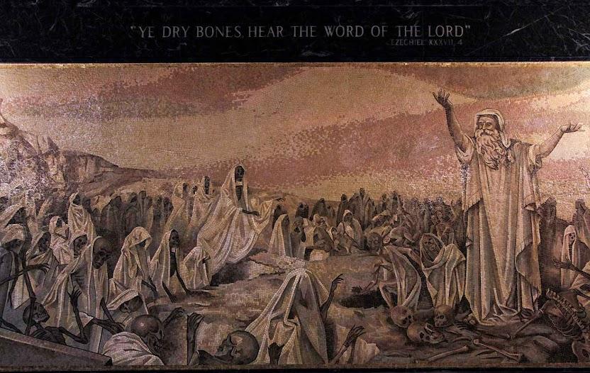 Visão de Ezequiel ossos que ressuscitam. Mosteiro franciscano de Washington D.C.
