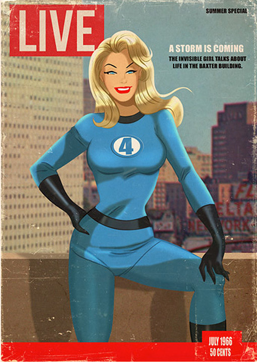 Fictional Magazine Covers Combine Retro Superheroes And PinUp - Magazines look superheroes real