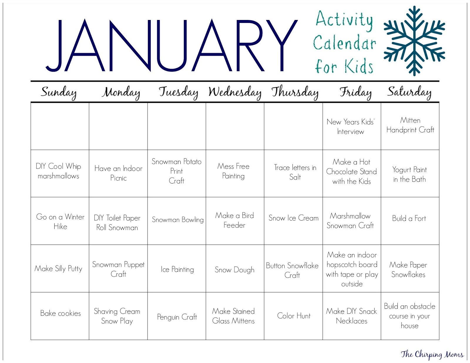 31 January Activities Amp Crafts For Kids Free Activity Calendar