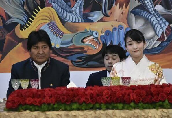 Princess Mako was welcomed by Bolivian President Evo Morales at the Casa Grande del Pueblo in La Paz