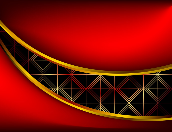 Gold And Red Backgrounds: 質感のある金のフレーム Red Vector Background With Gold Frame And