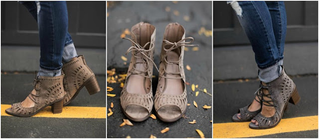 Mindy Mae's Market Lace-Up Gabby $40 in beige or gray