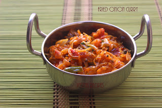 Fried Onion Curry - Easy  Side dish for chapathi,Roti,Poori - Onion Curry