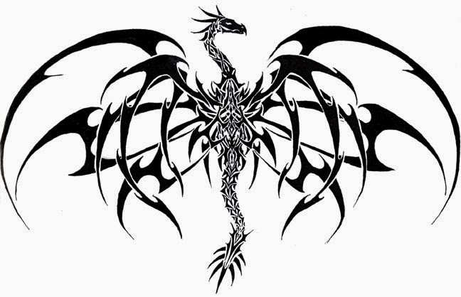 Dragon tribal wings tattoo stencil