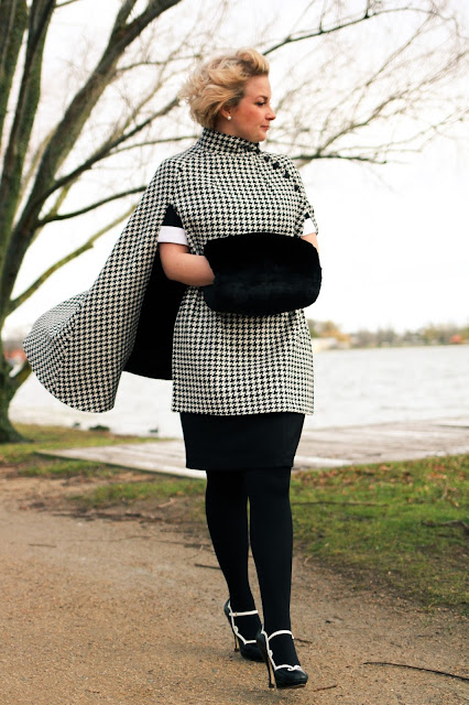 @findingfemme in silk houndstooth cape, black and white Review Australia dress, Wittner shoes and black hand muff.
