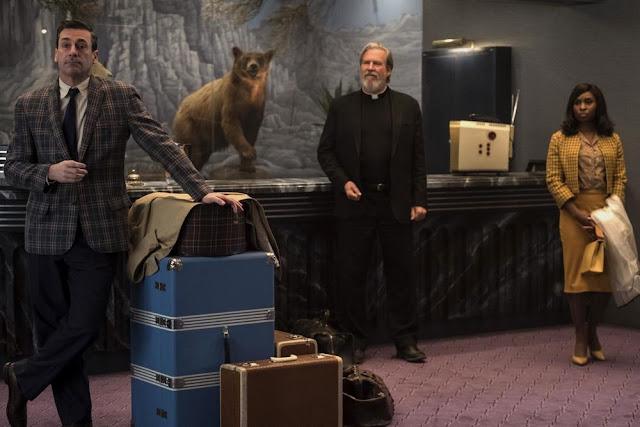 Jon Hamm, Jeff Bridges et Cynthia Erivo dans Sale temps à l'hôtel El Royale de Drew Goddard (2018)