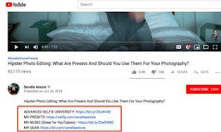 ban links trong youtube description