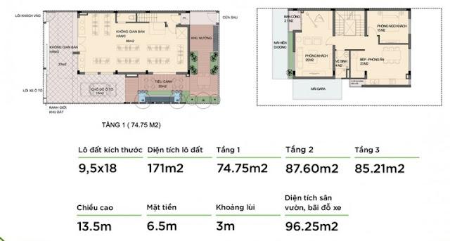Mẫu biệt thư 1- tầng 1 và tầng 2 An Phú Shop Villa
