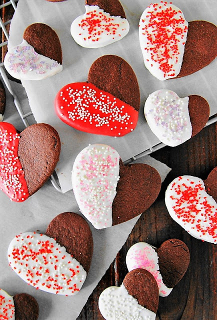 Valentine Chocolate Sugar Cookies Dipped in White Chocolate image