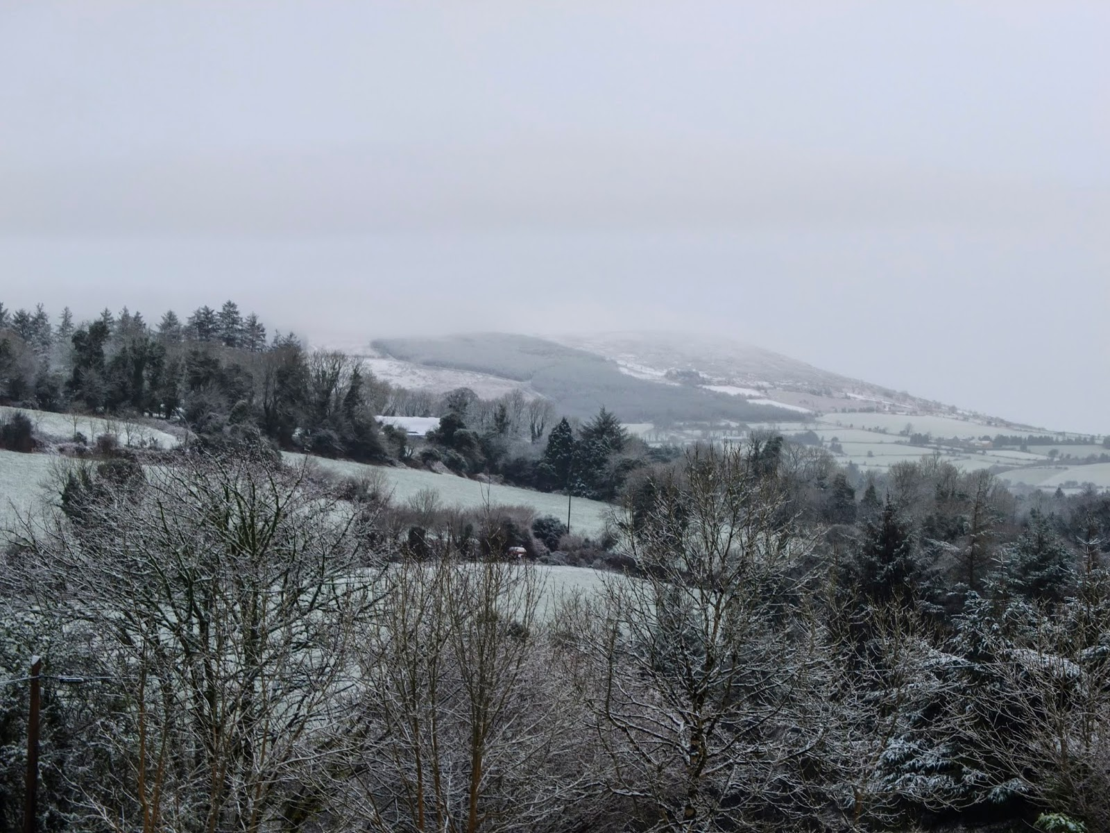 Snow capped Mount Hilary in North Cork captured from the Boggeragh Mountains.