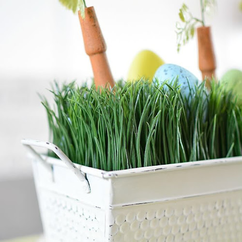 Upcycled Faux Wheatgrass Easter Centerpiece