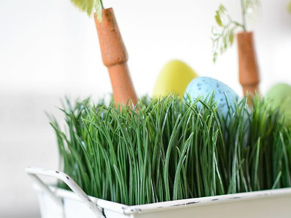 Upcycled Easter Centerpiece Box With Faux Wheatgrass