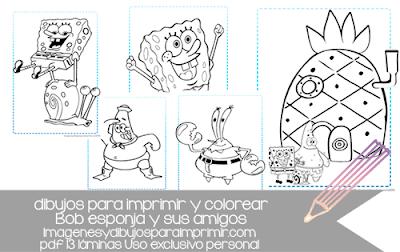 dibujos de bob esponja para imprimir