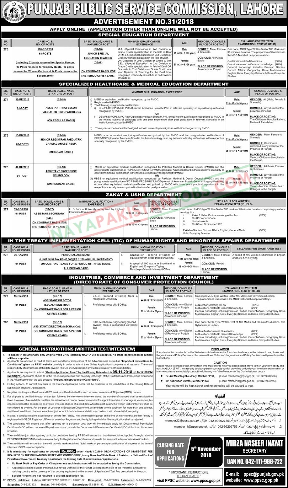 Latest Vacancies Announced in PPSC.GOP.PK Punjab Public Service Commission PPSC 21 October 2018 - Naya Pakistan