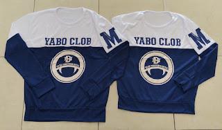 Jual Online Sweater Yabo Neo White Navy Murah Jakarta Bahan Babytery Terbaru