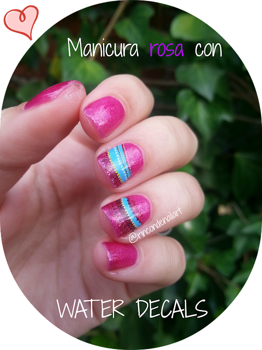 Manicura con water decals -You are the princess-