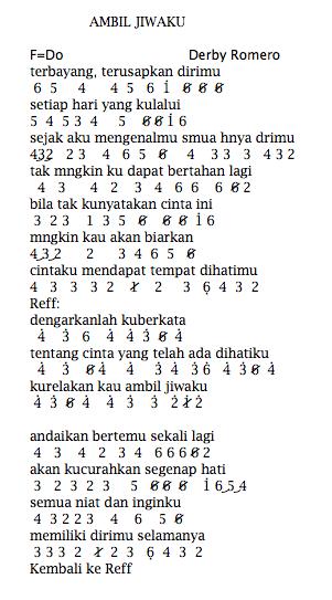 Not Angka Pianika Lagu Ambil Jiwaku - Derby Romero