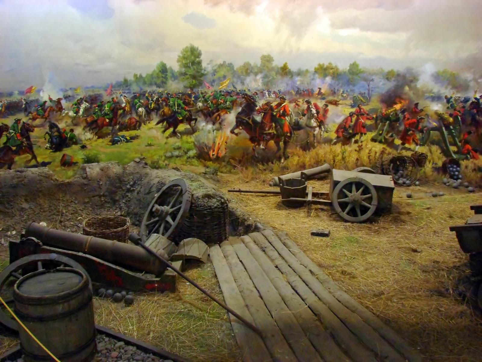Фрагмент диорамы, изображающей Полтавскую битву