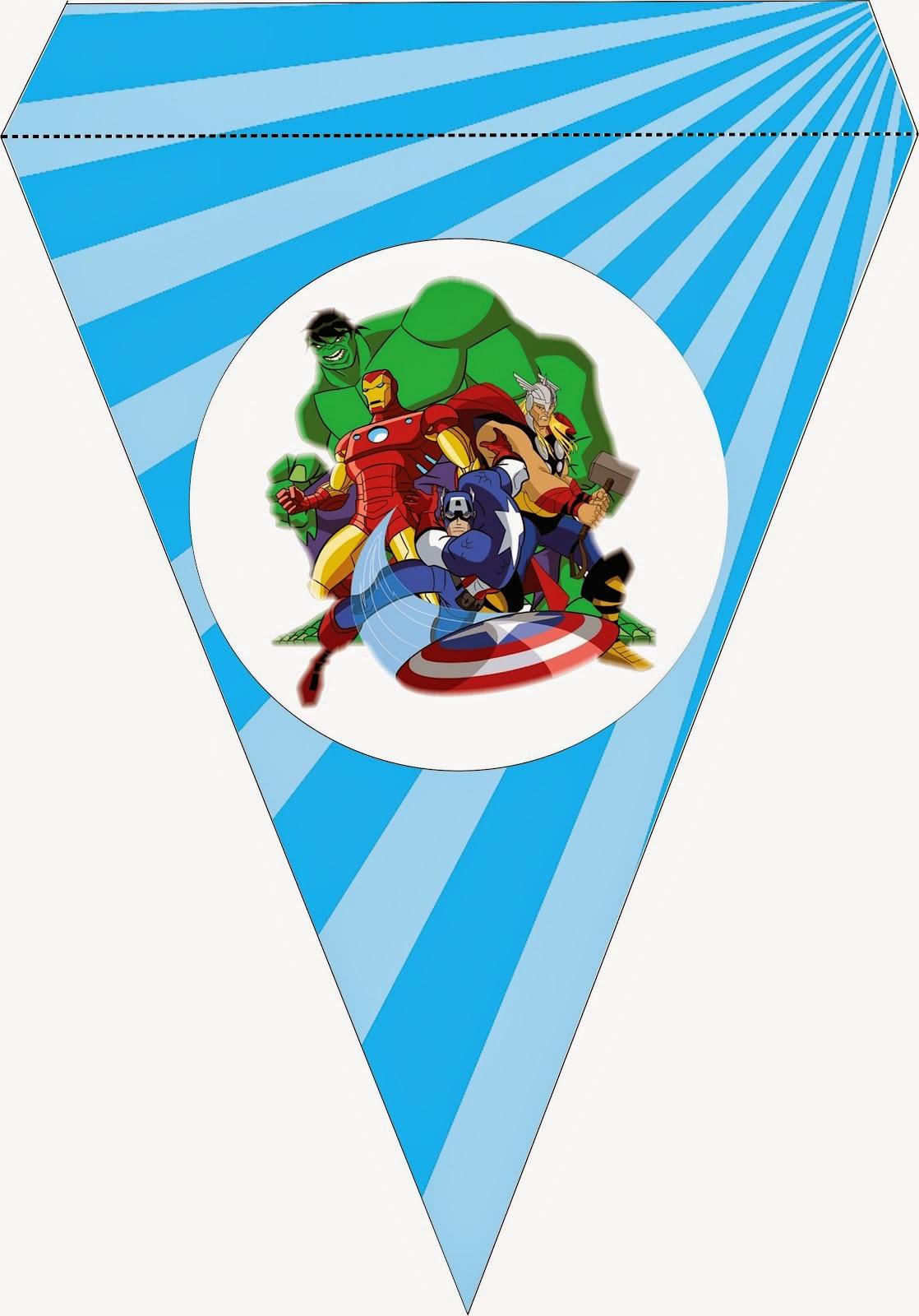 Banderines para Imprimir Gratis de los Vengadores.