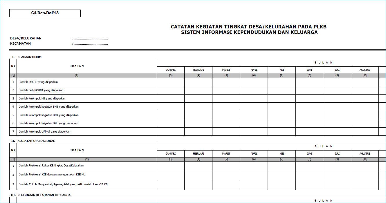 Blanko Catatan Kegiatan Tingkat Desa Kelurahan C I Des Dal 13 Gg File