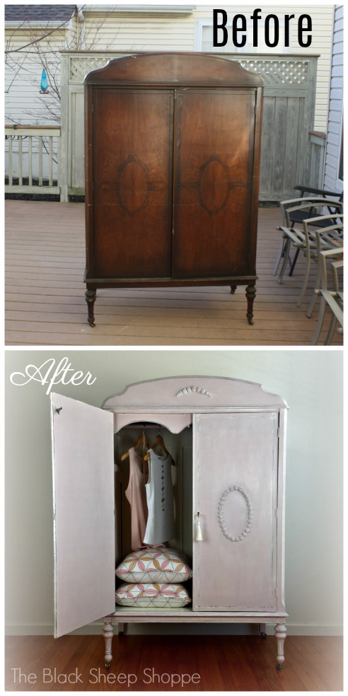 Vintage armoire before and after