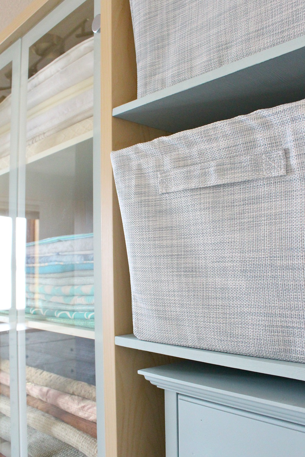 Pale Blue Fabric Storage Bins