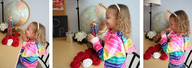 Five Ways to Use Rosary Roses to Teach Your Kids About the Catholic Faith: Prayer, Saints, Honoring Mary, Gratitude, Sacrifice, and Acts of Kindness which will draw us ever closer to our loving God!  www.sweetlittleonesblog.com
