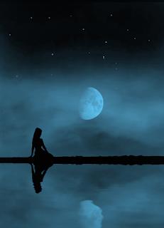 Warten auf die Nacht, mond, frau, einsamkeit, allein, liebe, worte, herz, die zeit, sterne, lyrik, foto,