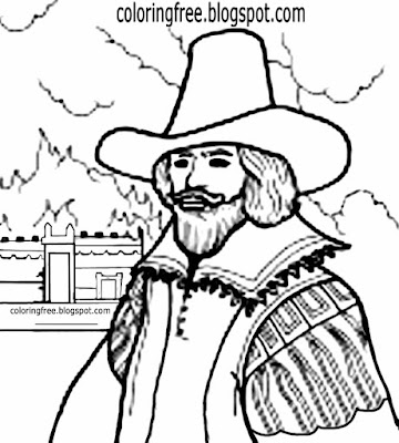 English history firework gunpowder plot Guy Fawkes printable bonfire night coloring page for schools