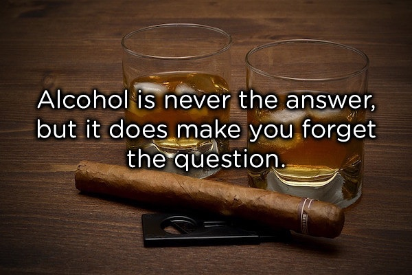 Alcohol Is Never The Answer but it does make you forget the question