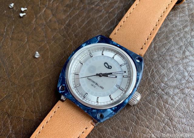 Sartory Billard SB-02 white dial Cote d'Azure blue bezel