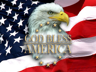 God bless wishes happy independence day of USA with eagle and flag