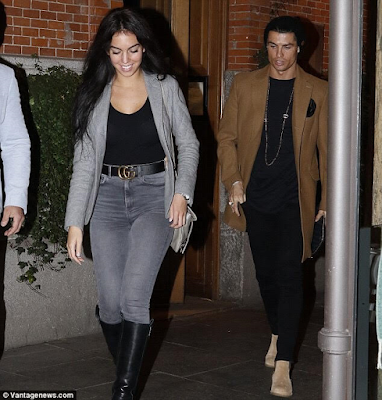 Cristiano Ronaldo celebrates his girlfriend's 22nd birthday by taking her to romantic dinner date (photos)