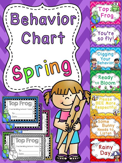 Spring behavior chart - I love switching out my clip chart every month to keep it fresh and exciting. Everyone wants to be the Top Frog so it's a great classroom management strategy :)