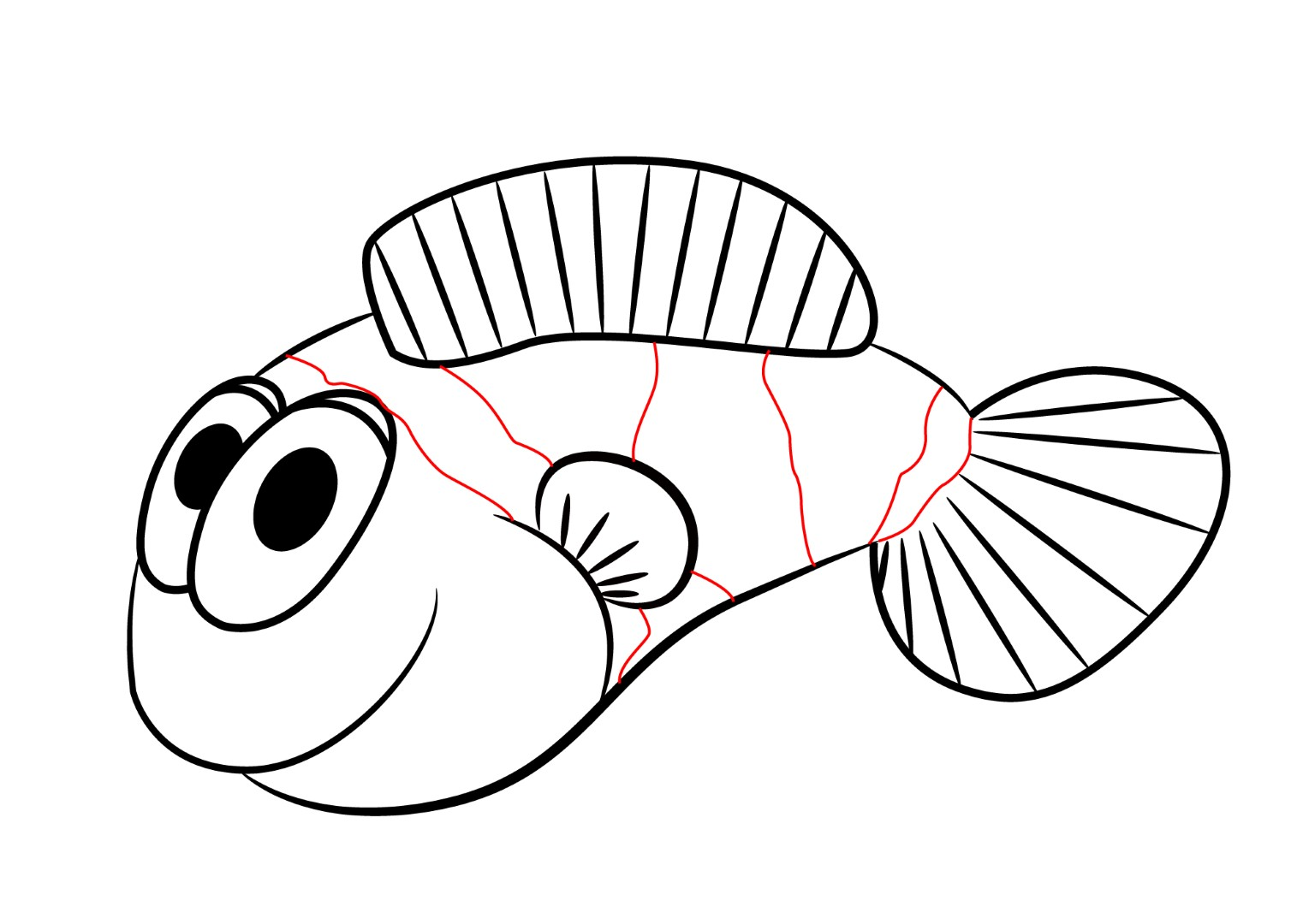 It is a picture of Invaluable Fish Cartoon Drawing