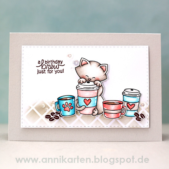 Birthday Brew card by Guest Designer Anni Lerche | Newton Loves Coffee Stamp set by Newton's Nook Designs #newtonsnook
