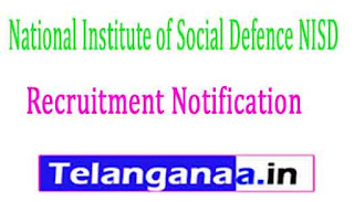 National Institute of Social Defence NISD Recruitment Notification 2017